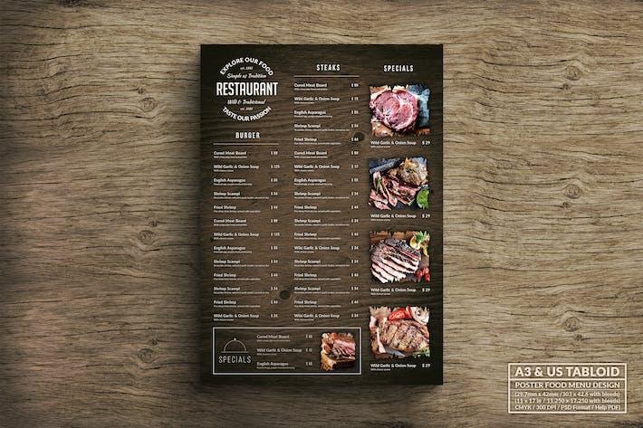 Thumbnail for Wood Poster Food Menu - A3 & US Tabloid
