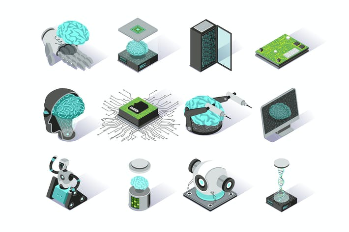 Thumbnail for Artificial Intelligence Isometric Icons Set