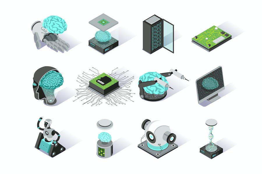 Artificial Intelligence Isometric Icons Set
