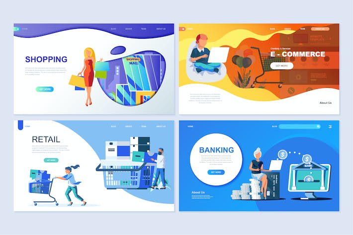 Thumbnail for Set of Landing Page Templates Flat Concept