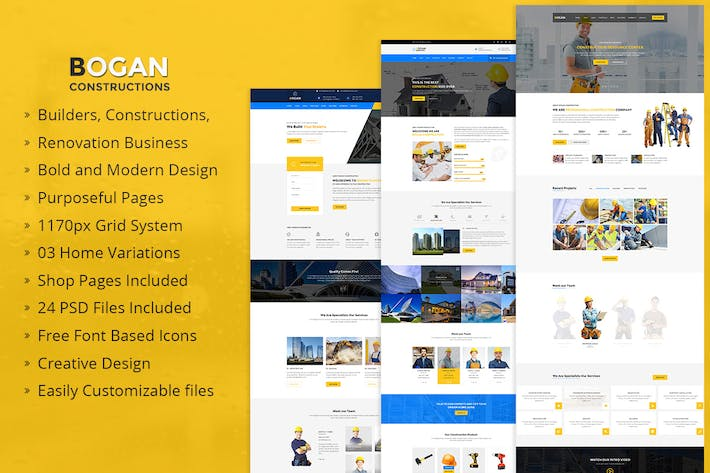 Cover Image For Bogan - Construction Building and Renovation PSD