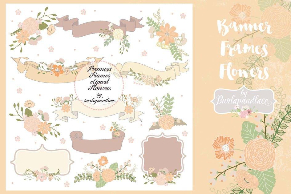Download Banner, Frame, Flower clip art orange/beige by burlapandlace
