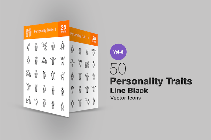 Thumbnail for 50 Personality Traits Line Icons