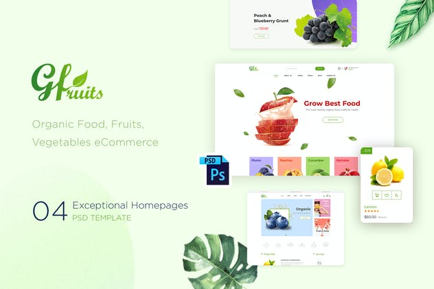 GFruits | Organic Food eCommerce PSD Template