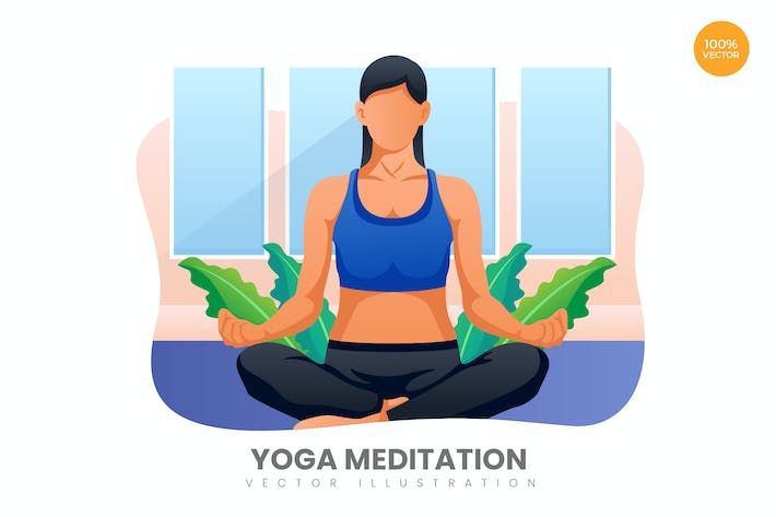 Thumbnail for Yoga Meditation Vector Illustration Concept