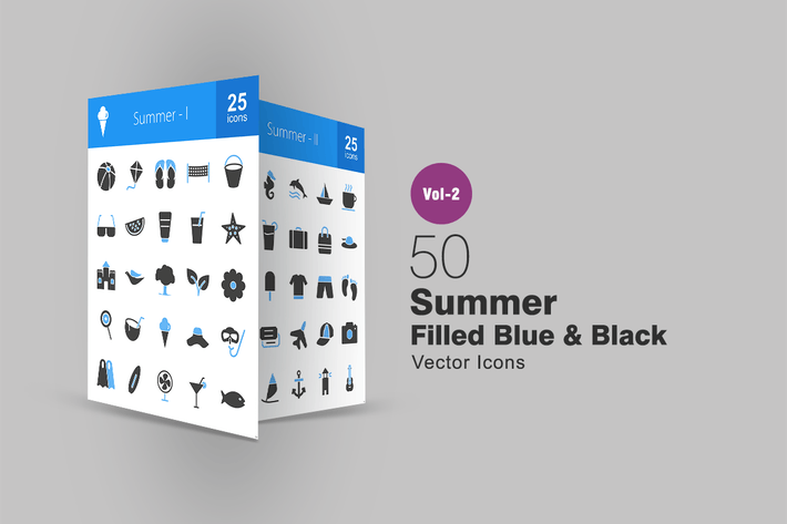 Thumbnail for 50 Summer Blue & Black Icons