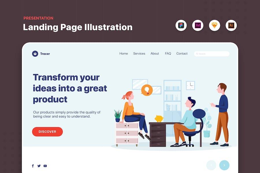 Business People Talking in Office Web Banner
