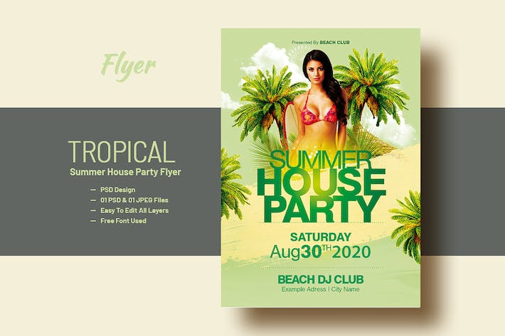 Thumbnail for Summer House Party Flyer Template V-14