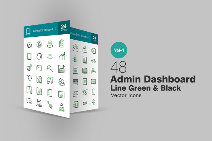 Thumbnail for 48 Admin Dashboard Line Green & Black Icons