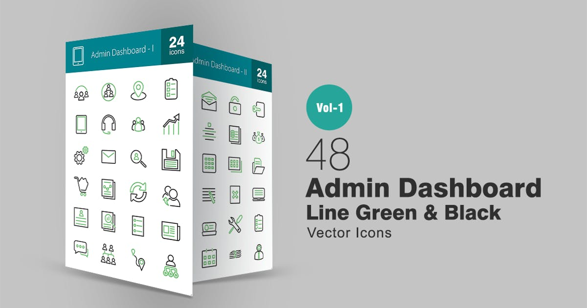 Download 48 Admin Dashboard Line Green & Black Icons by IconBunny