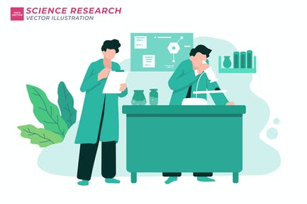 Science Research Flat Illustration