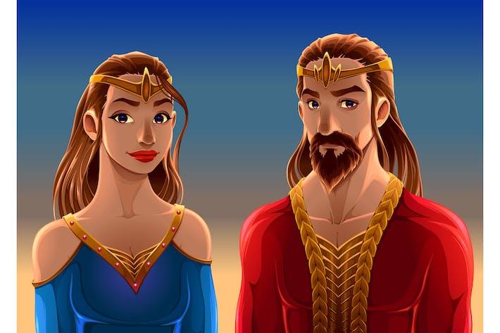 Thumbnail for Cartoon Portrait eines Königs und einer Königin