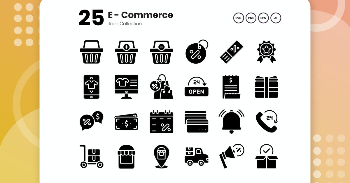 Download 25 E-Commerce Glyph Icon by vectorclans