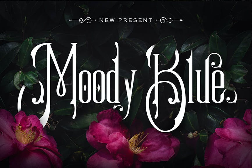 Moody-Blue-Typeface