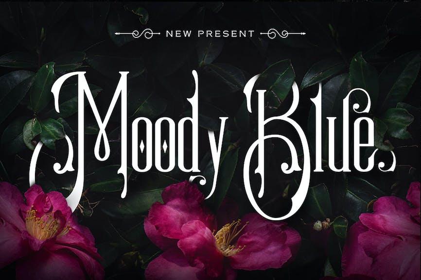 Moody-Blue-Typeface