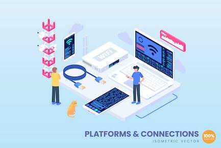 Platforms & Connections Concept Illustration