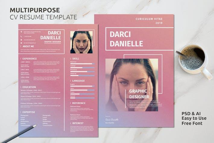 Thumbnail for Resume CV Template Vol. 25