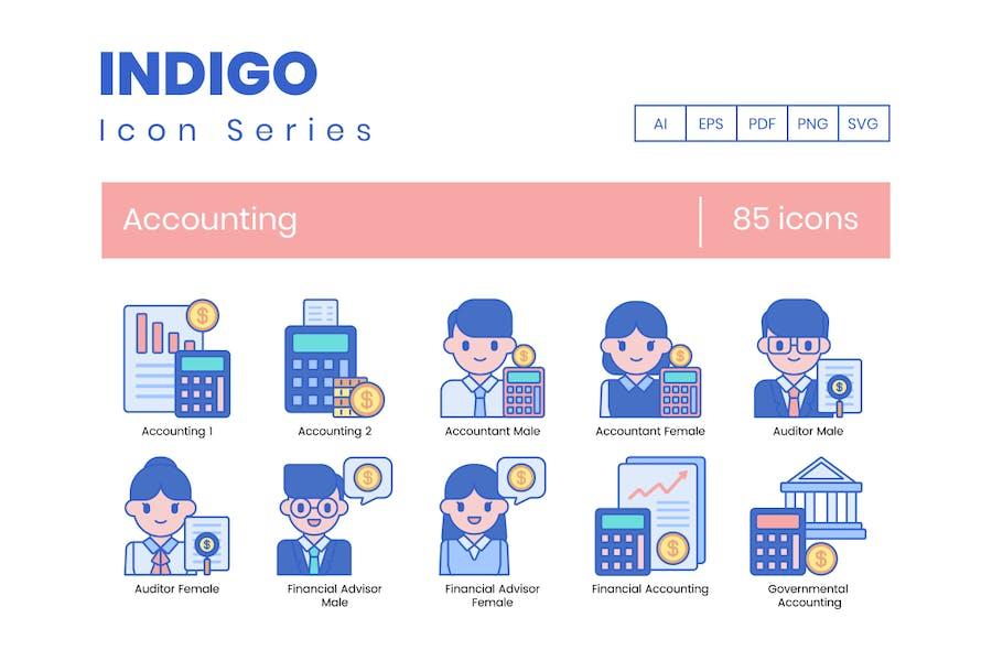 85 Buchhaltungssymbole - Indigo Series
