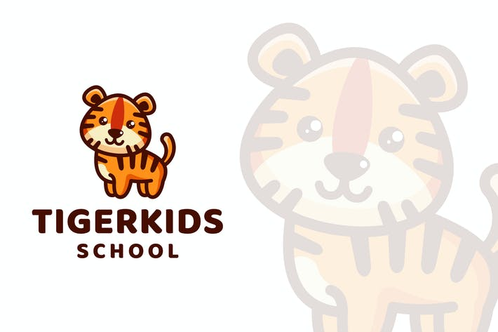 Thumbnail for Tiger Kids School Logo Template