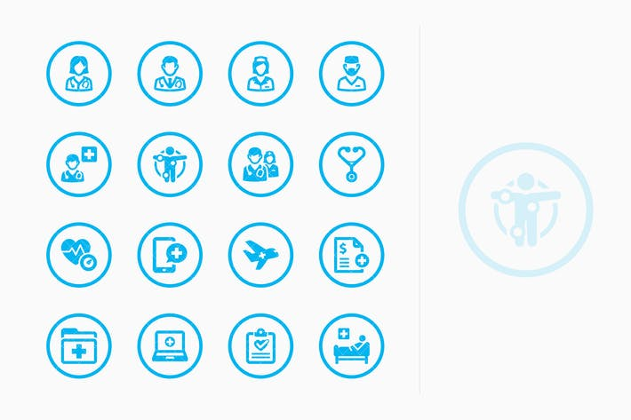 Medical Services Icons Set 2 - Blue Circles
