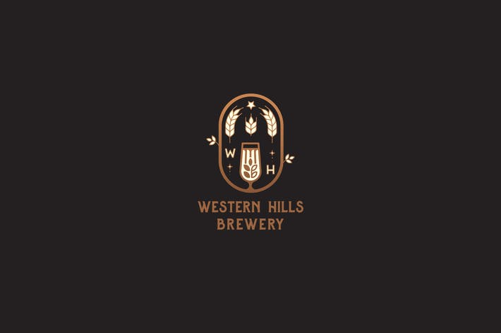 Thumbnail for Western Hills Brewery Badge Vintage Logo Template