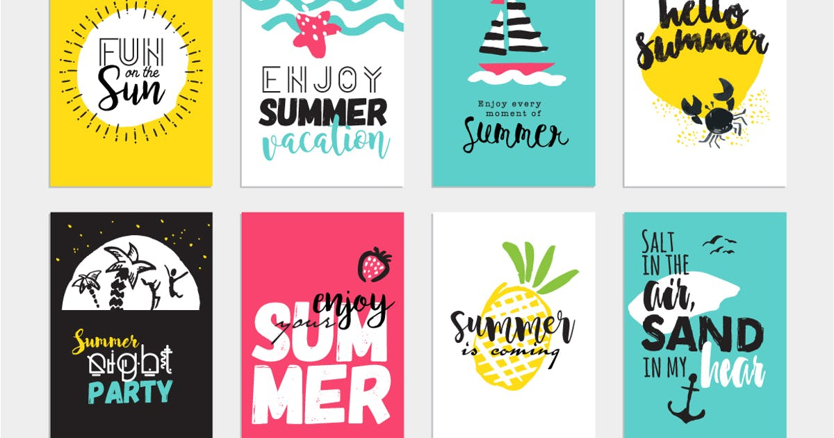 Download Set of hand drawn summer cards and banners by PureSolution