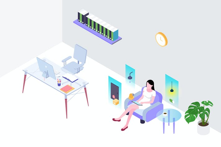 Thumbnail for Smart Workspace Isometric Illustration