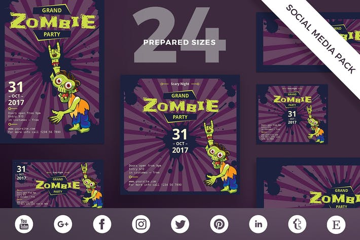 Thumbnail for Halloween Zombie Party Social Media Pack Template