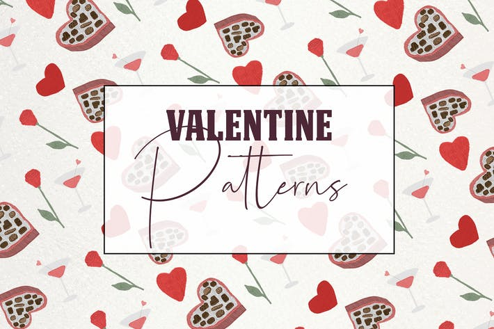 Thumbnail for Lovely romantic seamless valentine patterns