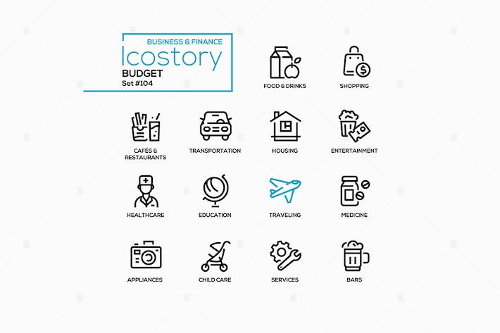 Thumbnail for Budget categories - line design style icons set