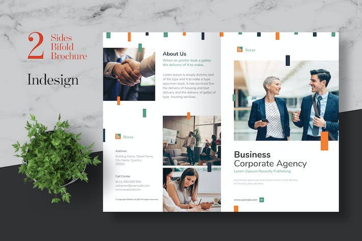 Thumbnail for Clean Agency Business Bifold Brochure