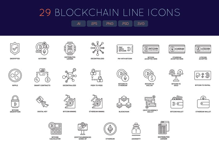 Thumbnail for 29 Bitcoin and Cryptocurrency Line Icons