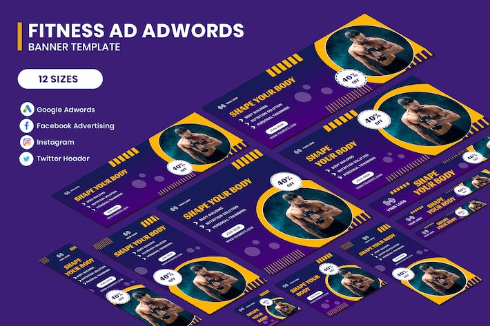 Thumbnail for Fitness Google Adwords Banner Template