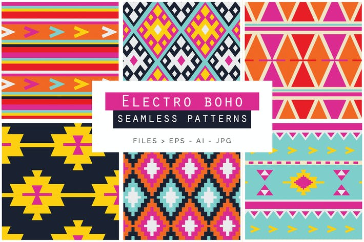 Cover Image For Electro Boho Seamless Vector Patterns