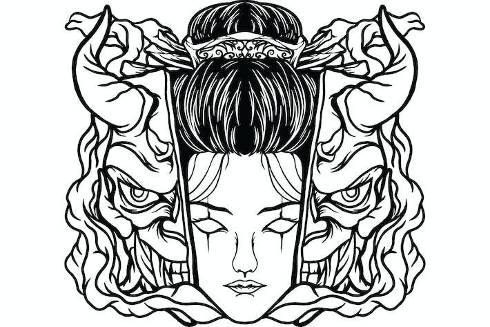 Thumbnail for Geiha mit Teufelsmaske