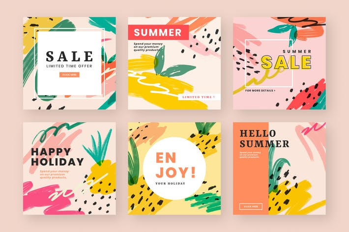Thumbnail for Colorful website banner design vector set