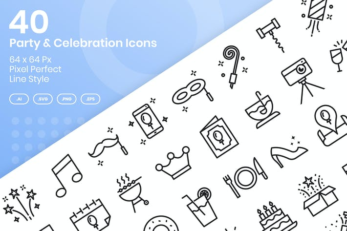 Thumbnail for 40 Party & Feier Icons Set - Linie