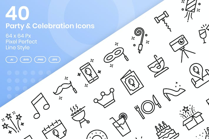 Thumbnail for 40 Party & Celebration Icons Set - Line