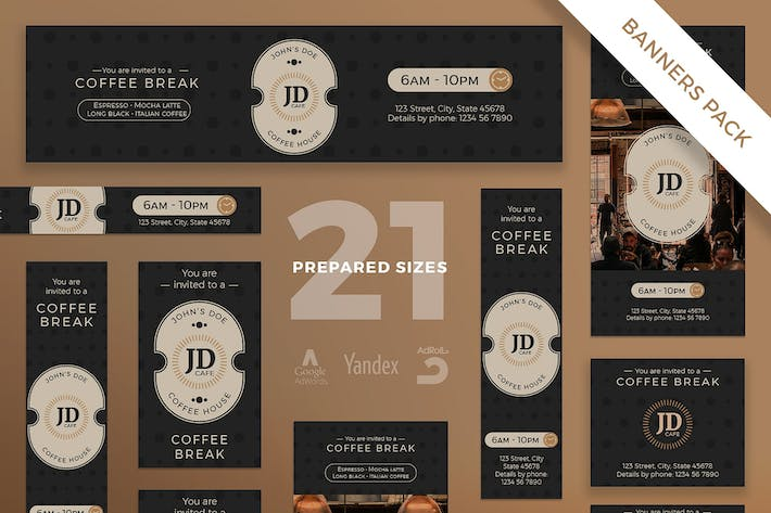 Thumbnail for Coffee Bar Banner Pack Template