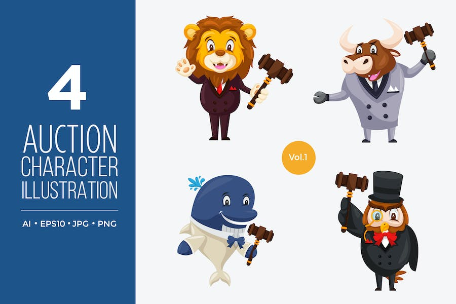 Cute Auction Animal Vector Character Set 1