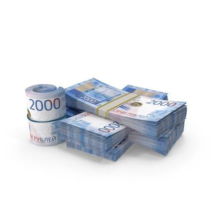 Kleiner Haufen russischer Rubel-Stacks
