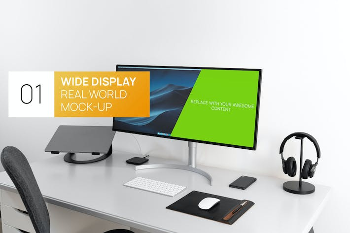 Thumbnail for Ultra Wide Display Real World Foto Mock-up