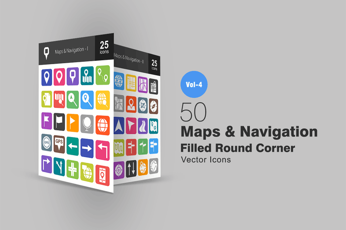 Thumbnail for 50 Maps & Navigation Flat Round Corner Icons