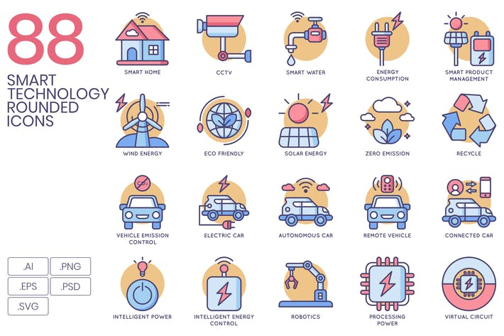 Thumbnail for 88 Smart Technology Rounded Icons