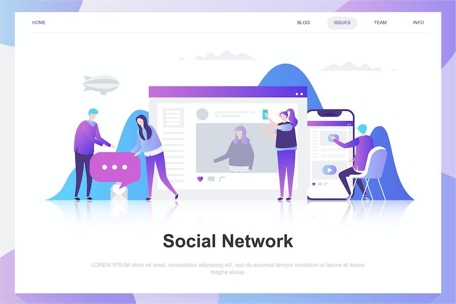 Réseaux sociaux Flat Concept