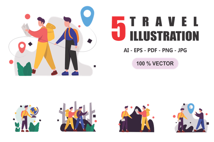 Thumbnail for Travel - Flat Design Illustrations