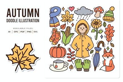 Herbst-Doodle-Abbildung