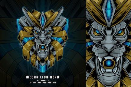 Mecha Lion Head Vector Illustration