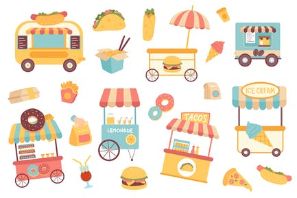 Fast Food Isolated Objects Set