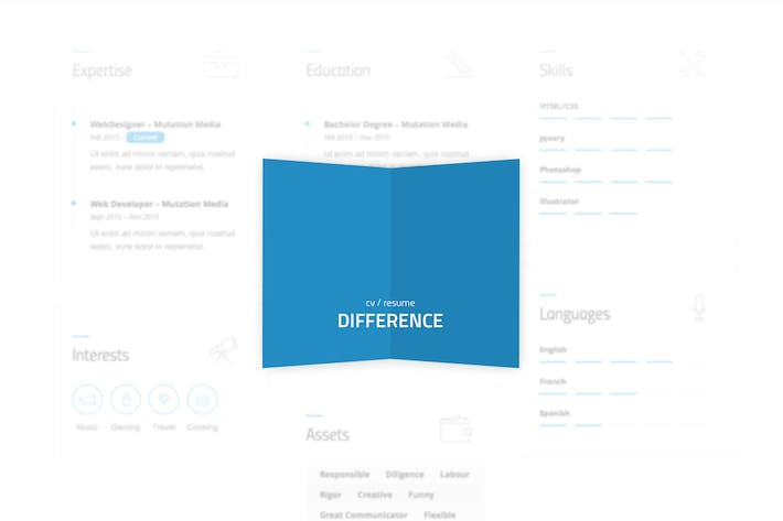 Difference - CV/RESUME TEMPLATE by mutationthemes on Envato Elements